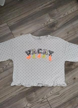 Укороченная футболка в горошек