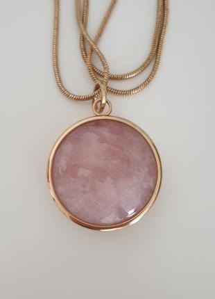 Цепочка с кулоном подвеской розовый кварц
