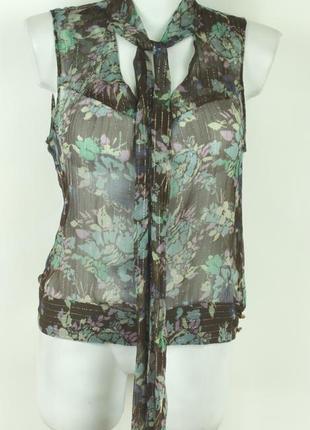 Прозрачная шелковая блуза с цветочным рисунком