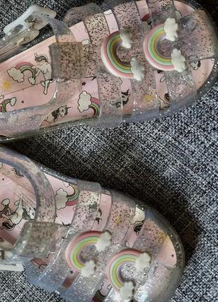 Босоножки сандалии мыльницы желейки единорог радуга primark uk 6 eur 23