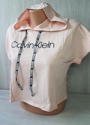 Женский кроп топ футболка с капюшоном с-м-л /44-46-48 наш пудра