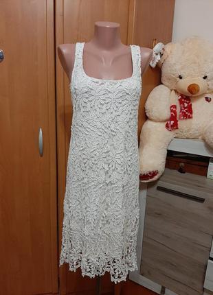 Платье макраме нежного молочного цвета