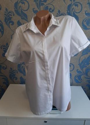 Белоснежная рубашка с украшением на воротничке пог 61 см