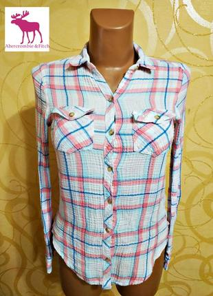 Шикарная летняя рубашка abercombie&fitch, оригинал р. xs