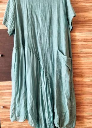 Эксклюзивное платье платьице лен шелк италия асимметрия