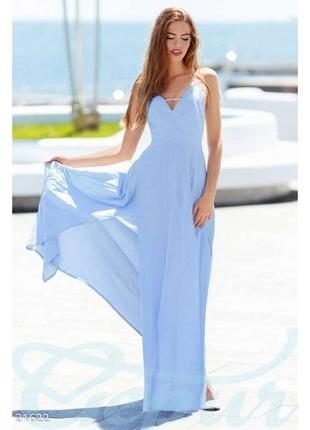 Платье сарафан сукня плаття льон голубое