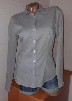 Классическая базовая рубашка в мелкую чёрно-белую полоску