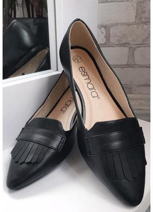 Балетки esmara экокожа, новые красивые чёрные туфли размер 37 , новинка 2020!