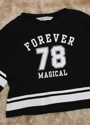Крутая укороченная футболка h&m 10-12лет