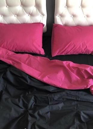 Комплект постельного белья комбинированный обнотонный качественный2 фото