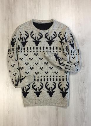 F8 свитер вязаный с оленями cws теплая кофта белый