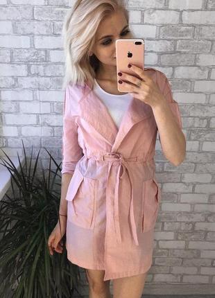 Тренч новый пудрового цвета,плащ розовый, ветровка ,курточка лето 2020,размер s