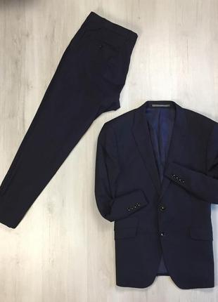 F8 костюм темно-синий m&s классический костюм