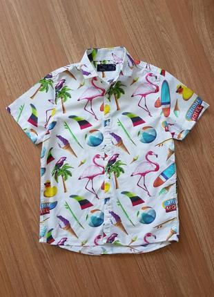 Крутая летняя тонкая легкая рубашка на мальчика