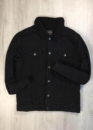 F9  утепленная джинсовая куртка primark черная примарк теплая курточка