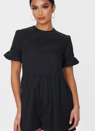 Розпродажа комбинезон с шортами чёрный prettylittlething