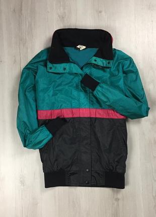 F9  винтажная ветровка с капюшоном sprint зеленая черная розовая