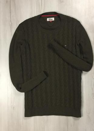 F9 свитер tommy hilfiger denim зеленый хаки теплая кофта