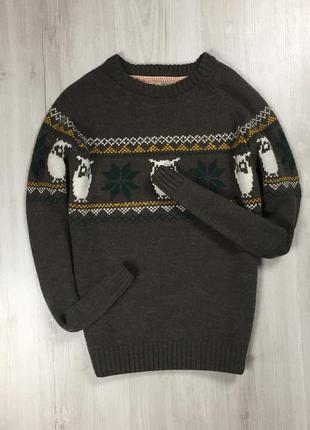 F9 свитер с оленями с совами коричневый свитер с принтом