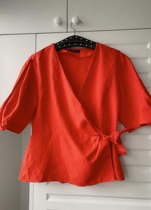 Летний льняной жакет от зара оранжевый с большими рукавами m l