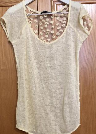 Льняная футболка топ , спина ажурная , вышивка цветы , atmosphere