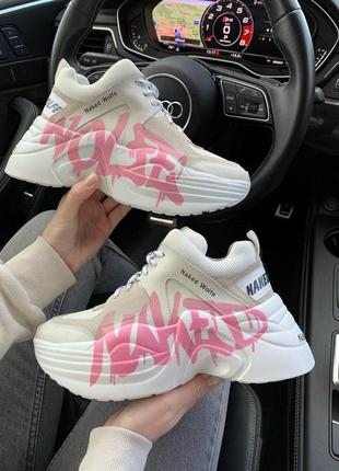 Женские кожаные кроссовки naked wolfe pink logo(premium) ◈ кеды ◈ белого цвета 😍