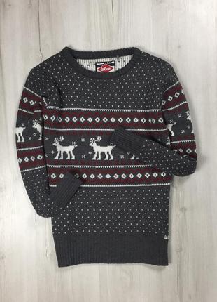 F8 свитер lee cooper с оленями серая с принтом кофта