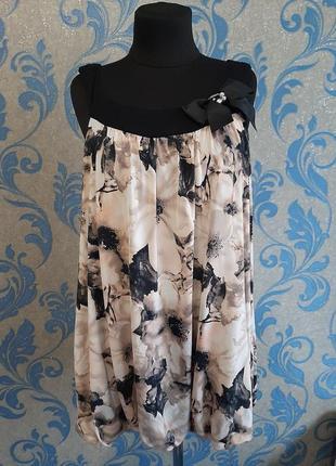 Очень красивая блуза свободного кроя, низ на резинке uk 18 р.