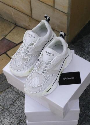 Calvin klein white (lux) 🔥шикарные женские кроссовки келвин кляйн