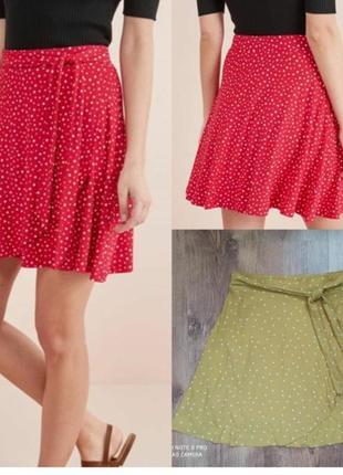 Отличная юбка в горох горчичного цвета