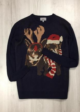 F7 свитер m&s с лампочкой с оленями с собаками мопсами кофта худи свитшот