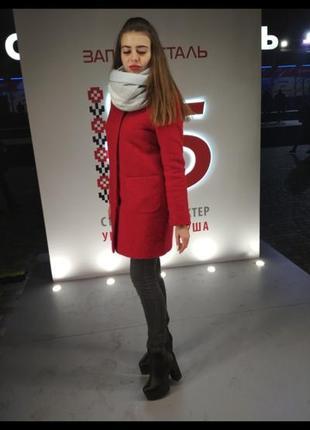 Зимнее красное пальто