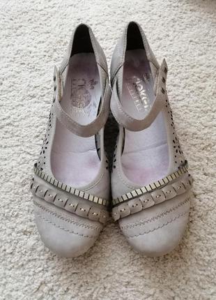 Супер туфли с перфорацией серые rieker