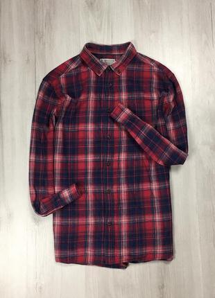 Z7  рубашка tu  клетчатая рубашка в клетку красная