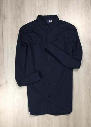 Z7 рубашка h&m приталенная синяя однотонная  фирменная
