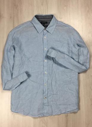 Z7  рубашка льняная mark&spencer голубая однотонная фирменная синяя