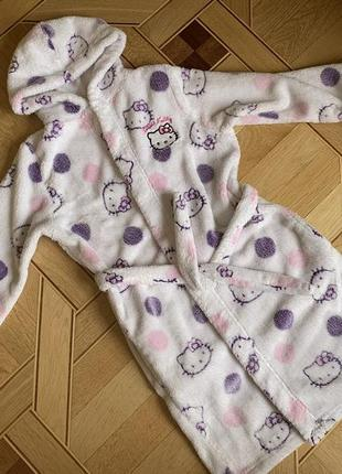 Тёплый махровый халат hello kitty 7-8 лет, 128 см, marks & spencer, капюшон