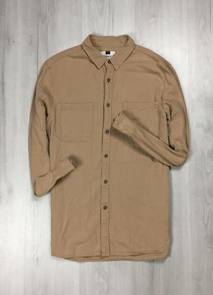Z7  рубашка джинсовая topman коричневая бежевая топмэн фирменная