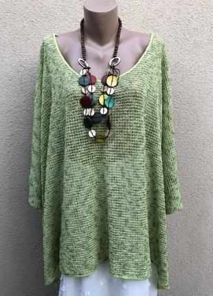 Блуза ажур,сетка,реглан,туника,большой размер,лён,хлопок