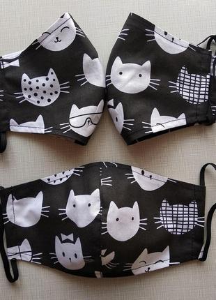 Черная маска с котами,защитные многоразовые маски с хлопка