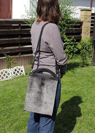 Повседневная кожаная женская сумка, сумка из шкуры коровы и кожи