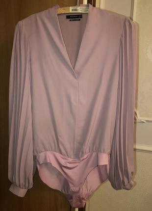 Рубашка розовая боди с рукавом
