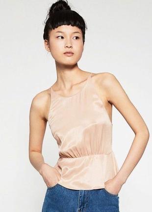 Zara топ нюдовый на бретелях, бежевый, розовое золото, открытая спина