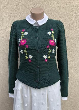 Вязаный кардиган,кофта вышивкой,шерсть,ретро винтаж стиль,himmelblau