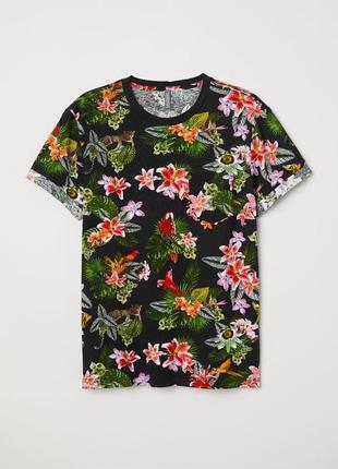 Красивая футболка тропический принт h&m
