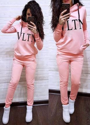 Розовый пудра спортивный костюм кофта с надписью vltn с капюшоном длинный рукав и штаны