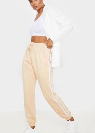 Бежевые джоггеры, спортивные штаны на резинках с лампамами