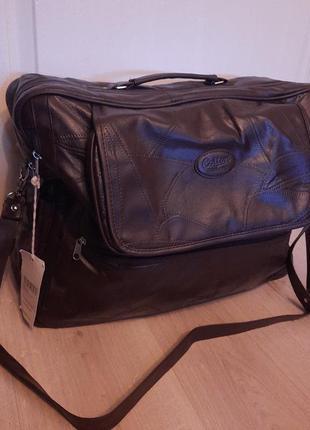 Большая кожаная сумка дорожная через плечо коричневая cotton trader's