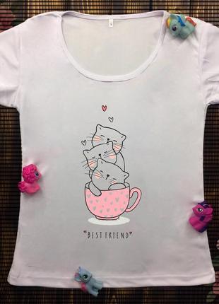 Женские футболки с принтом -  котики