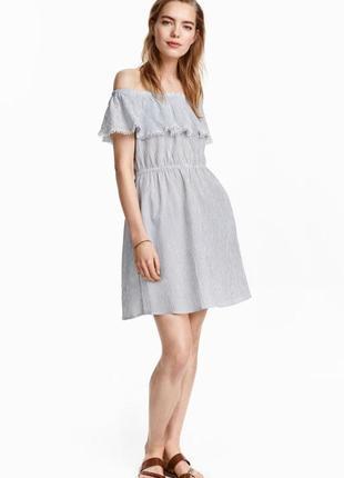 Легке літнє плаття h&m платье рюша полоска принт